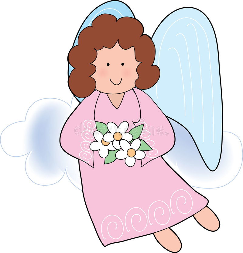 Angel with Flowers. Girl Angel flying with flowers stock illustration