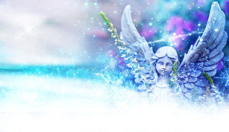 Angel between flowers and stardust. Angel, grave angels between flowers and stardust stock images