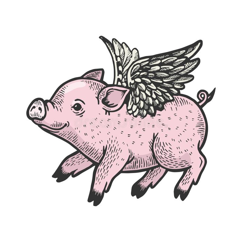 Angel flying baby piggy engraving vector. Angel flying baby little piggy color sketch engraving vector illustration. Scratch board style imitation. Black and vector illustration