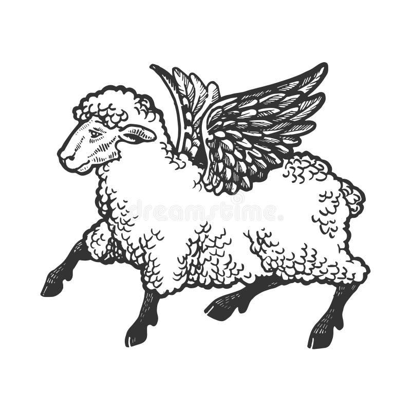 Angel flying sheep engraving vector stock illustration