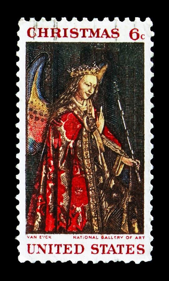Angel Gabriel från förklaringen av Jan van Eyck, julserie, circa 1968 arkivfoton