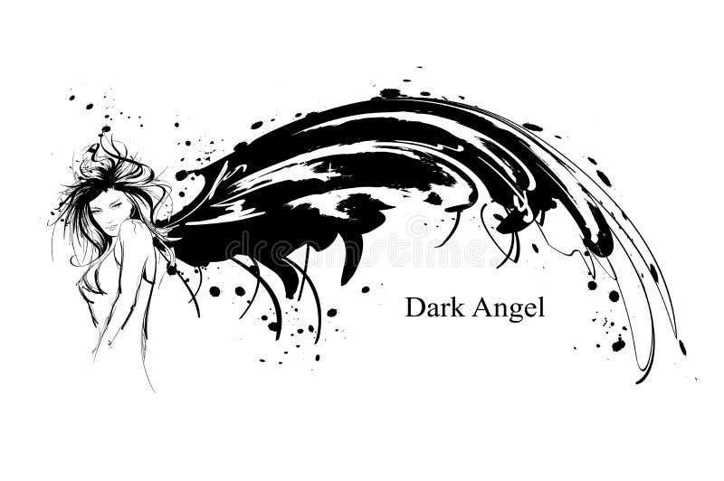 Angel Girl Ange foncé Image de vecteur de fille d'ange de mode de beauté Ange de mode illustration stock