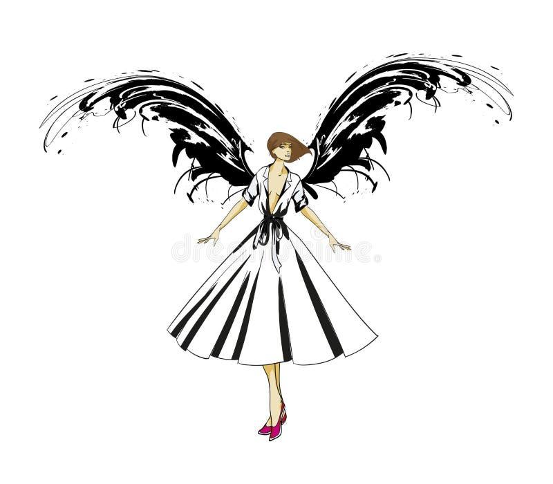 Angel Girl Ange fonc? Image de vecteur de fille d'ange de mode de beaut? Ange de mode illustration libre de droits