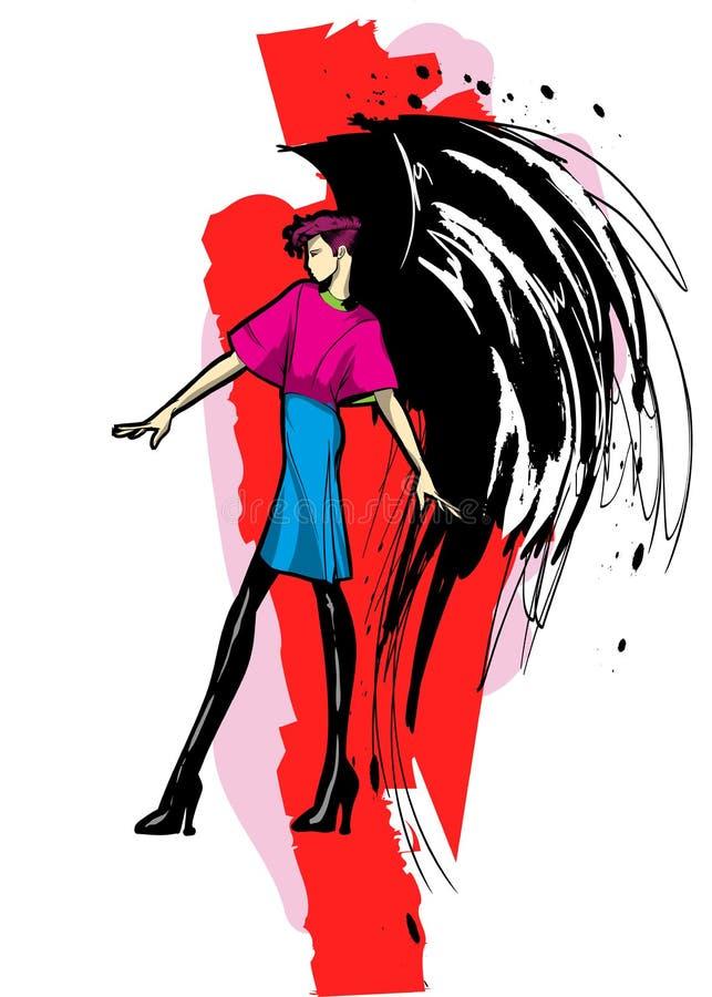 Angel Girl Dunkler Engel Vektorbild des Sch?nheitsmode-Engelsm?dchens Modeengel vektor abbildung