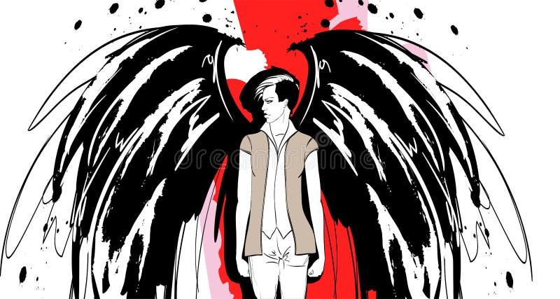 Angel Girl Dunkler Engel Vektorbild des Sch?nheitsmode-Engelsm?dchens Modeengel lizenzfreie abbildung