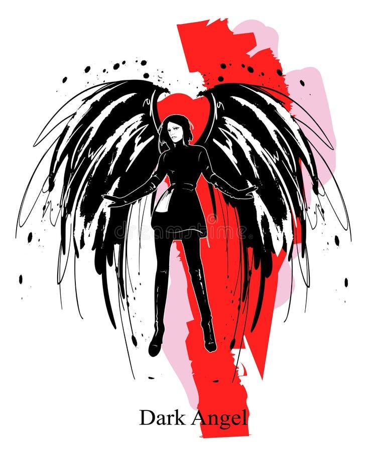 Angel Girl Dunkler Engel Vektorsch?nheitsmode-Engelsm?dchen Modeengel lizenzfreie abbildung