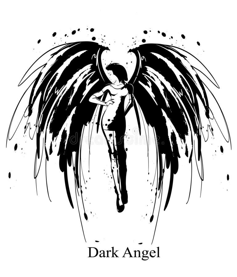 Angel Girl Dunkler Engel Vektorsch?nheitsmode-Engelsm?dchen Modeengel vektor abbildung