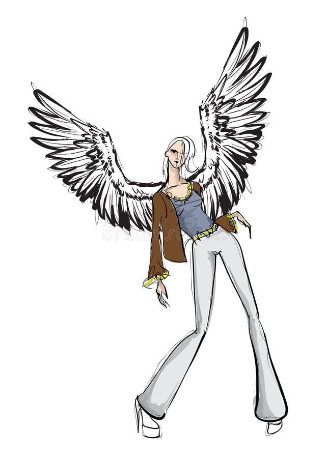 Angel Girl Dunkler Engel Vektorsch?nheitsmode-Engelsm?dchen Modeengel stock abbildung