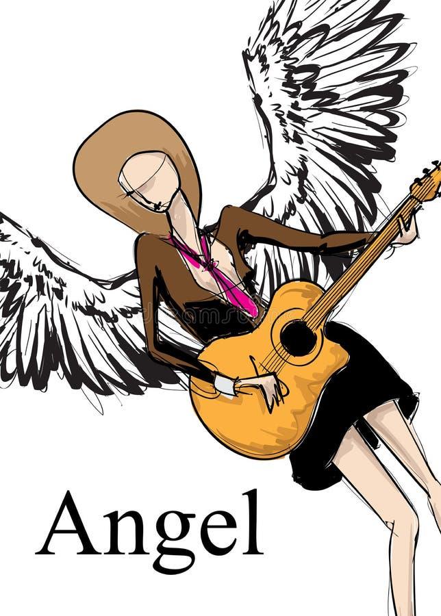Angel Girl Fille de croquis de vecteur avec des ailes Ange de mode illustration de vecteur