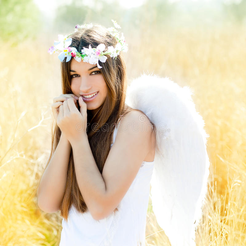 Download Angel Girl In Golden Field With White Wings Stock Photo - Image of angel, girl: 24319602