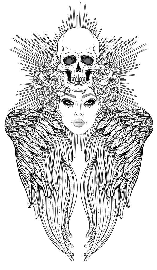 Angel girl with wings and halo. Isolated hand drawn vector illustration. Trendy Vintage style element. Spirituality, occultism, vector illustration