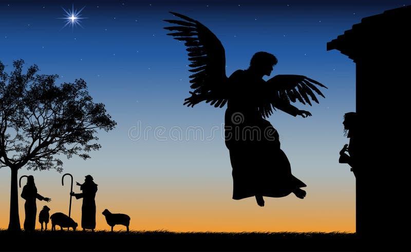 Angel Gives Mary Good News stock illustration