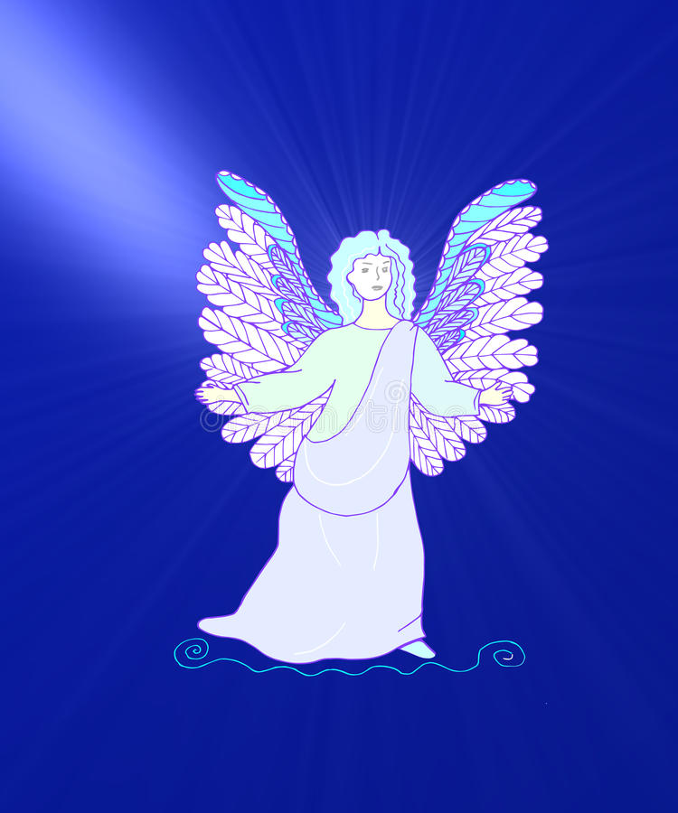 Angel going to heaven stock illustration