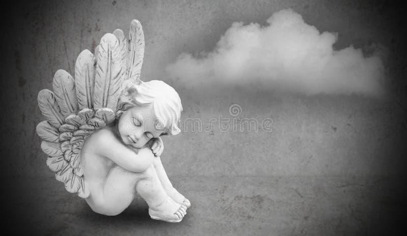 Angel on gray background stock photo