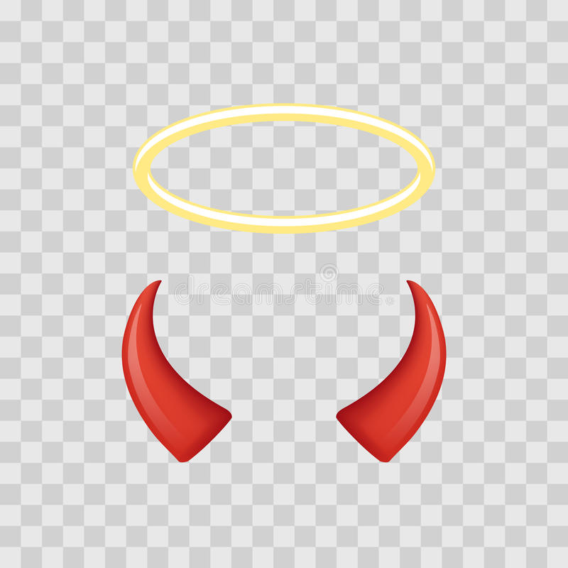 Angel Halo And Devil Horns Isolated On Transparent Checkered