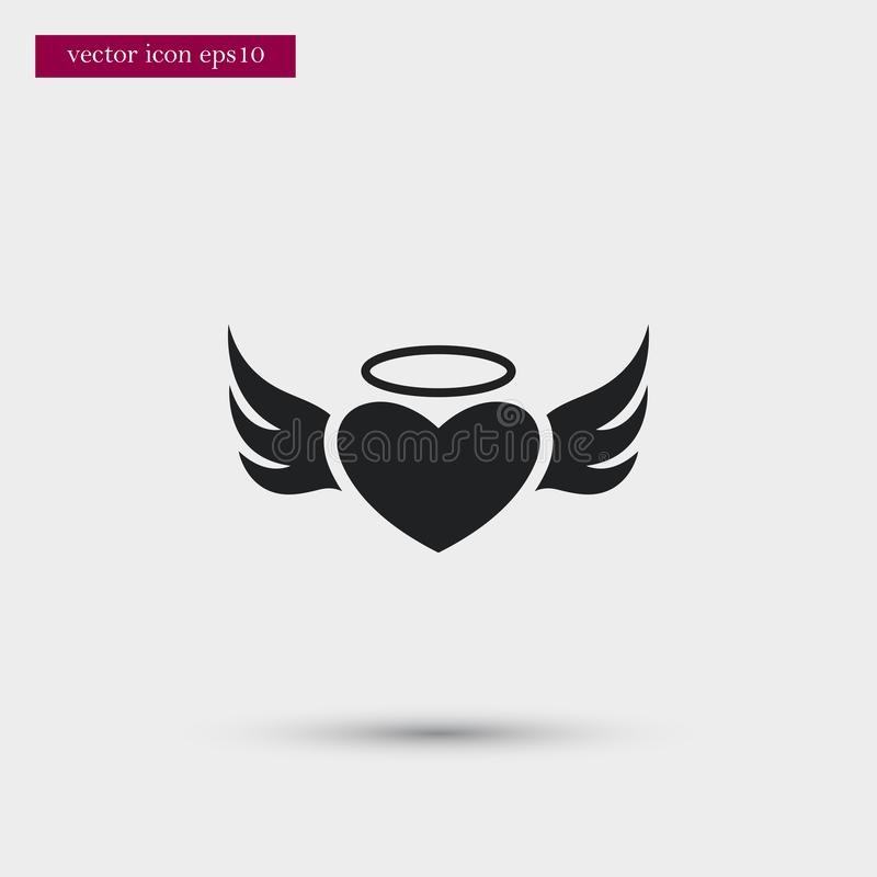 Angel heart icon. Simple romance element illustration. Valentine symbol design from love collection. Can be used in web and mobile vector illustration