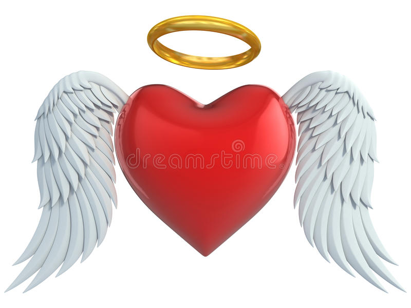 Angel Heart With Wings And Golden Halo Stock Illustration ... Angel Wings Heart Halo