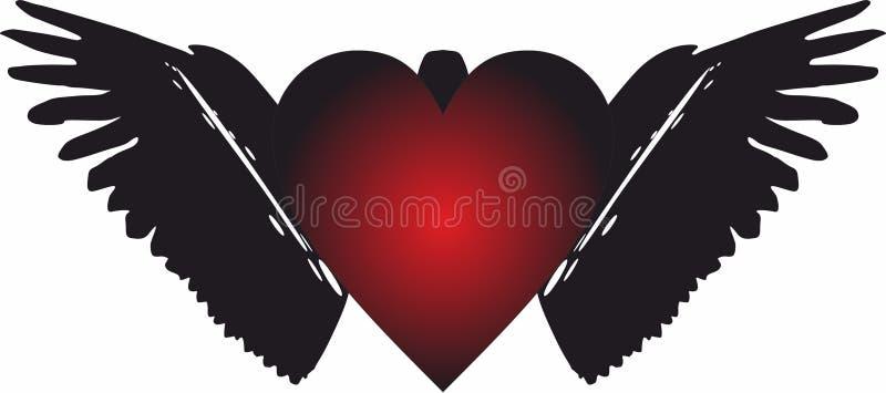 Angel Heart Wings Icons para apps móveis do conceito e da Web ilustração do vetor