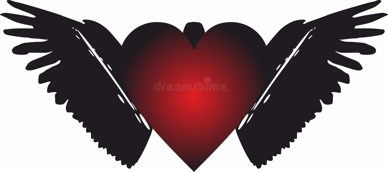 Angel Heart Wings Icons para los apps móviles del concepto y del web ilustración del vector
