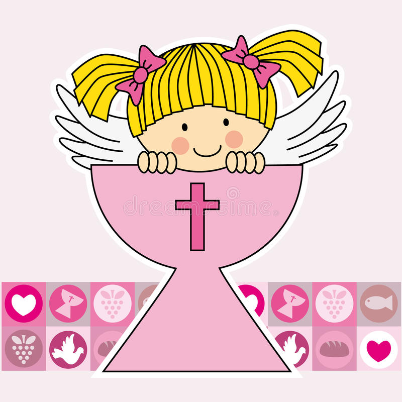 Angel in the holy grail royalty free illustration