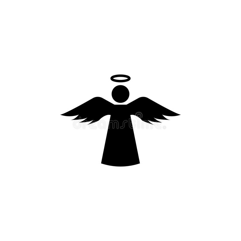 Angel icon with holy icon. On white background stock illustration