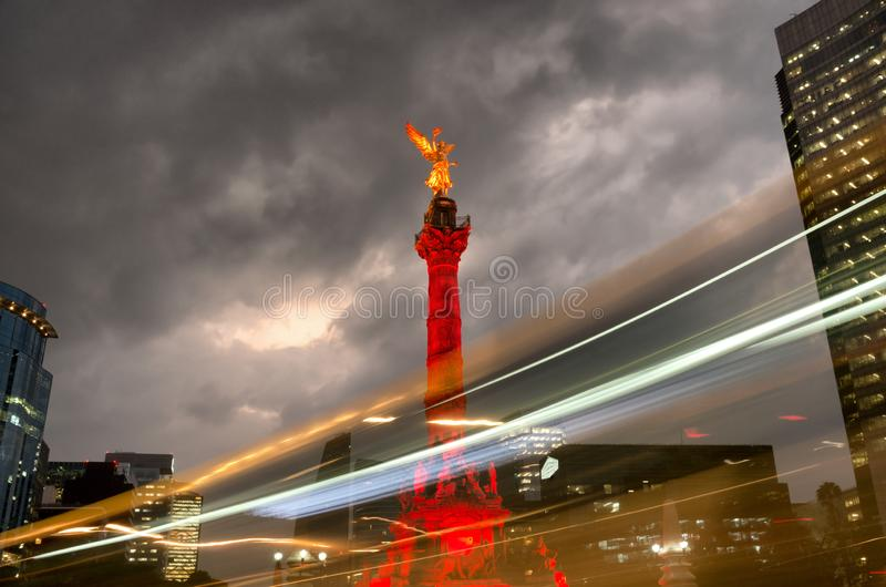 The Angel of Independence against the sky in Mexico City, Mexico stock photos