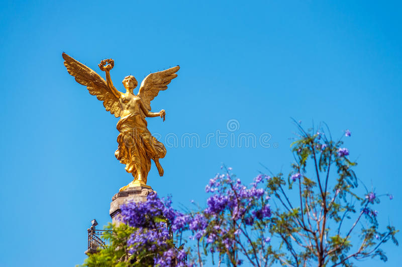 Angel of Independence. Golden colored Angel of Independence in Mexico City royalty free stock image