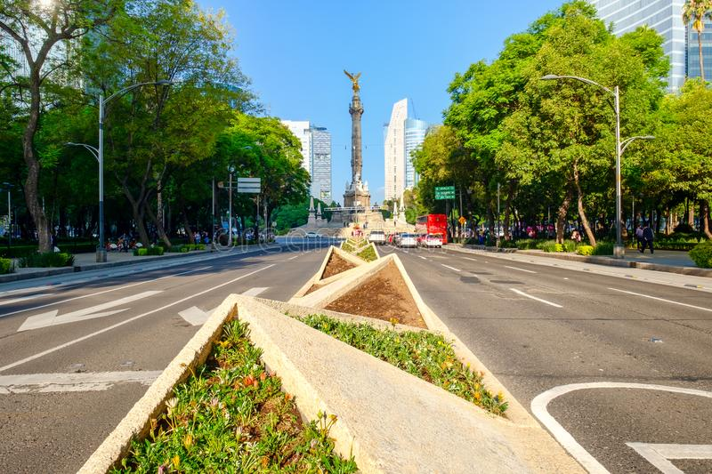 The Angel of Independence at Paseo de la Reforma in Mexico City. The Angel of Independence at Paseo de la Reforma, a worldwide known symbol of Mexico City royalty free stock image
