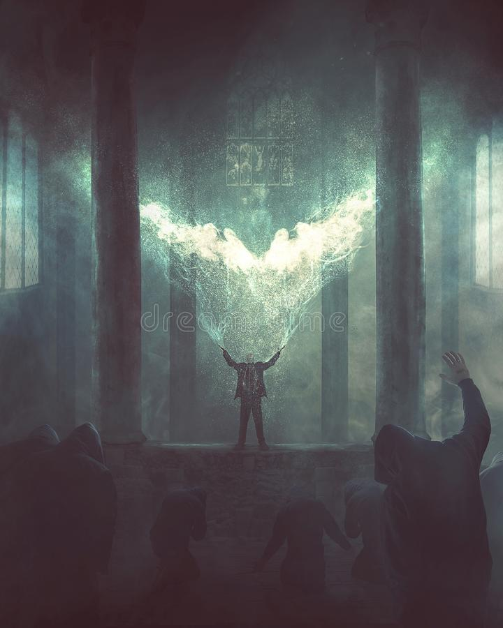 Angel of light. A man stands up in a religious temple as people worship him royalty free illustration