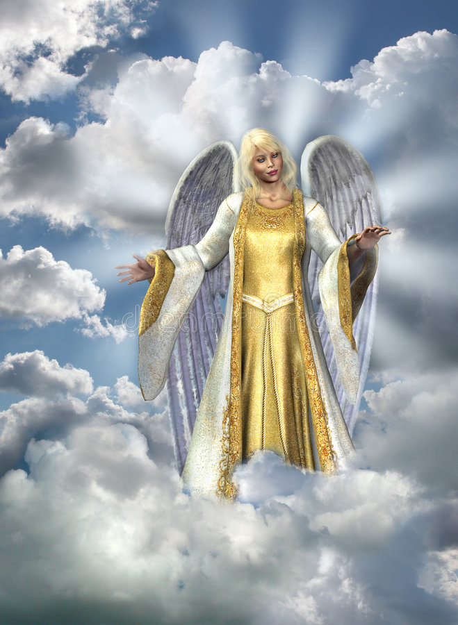 Angel of Light in Sky royalty free illustration