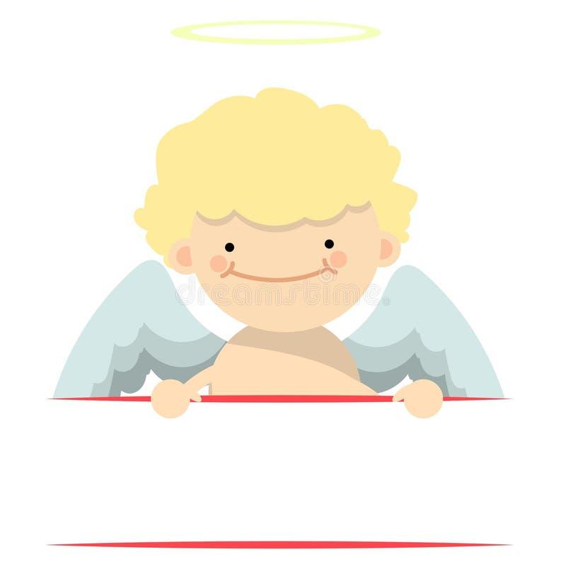 Angel little boy banner vector illustration
