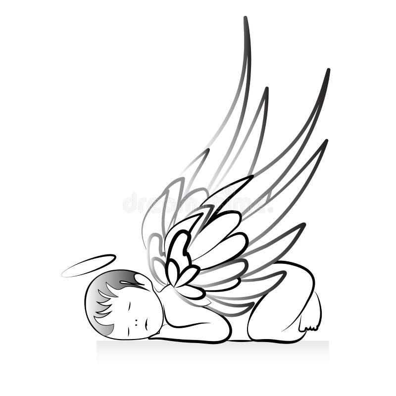 Angel logo art vector image icon illustration. Baby angel sleeping logo art vector identity card logotype template vector image design graphic vector illustration