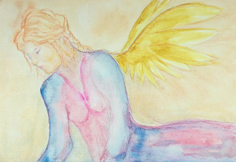 Angel looking down to earth. royalty free illustration