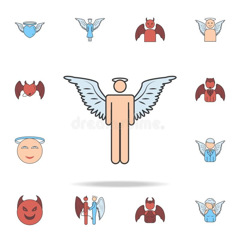 Angel man color field outline icon. Detailed set of angel and demon icons. Premium graphic design. One of the collection icons for. Websites, web design, mobile vector illustration