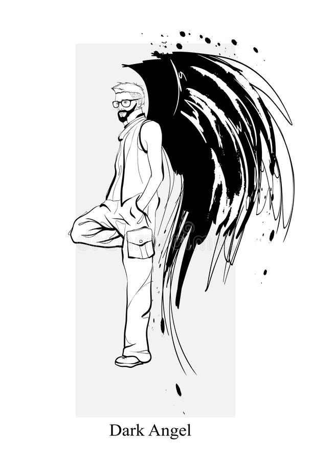 Angel man. Dark angel. Vector image of beauty fashion angel man. Fashion angel. Angel man. Dark angel. Vector illustration of beauty fashion angel man. Vector vector illustration