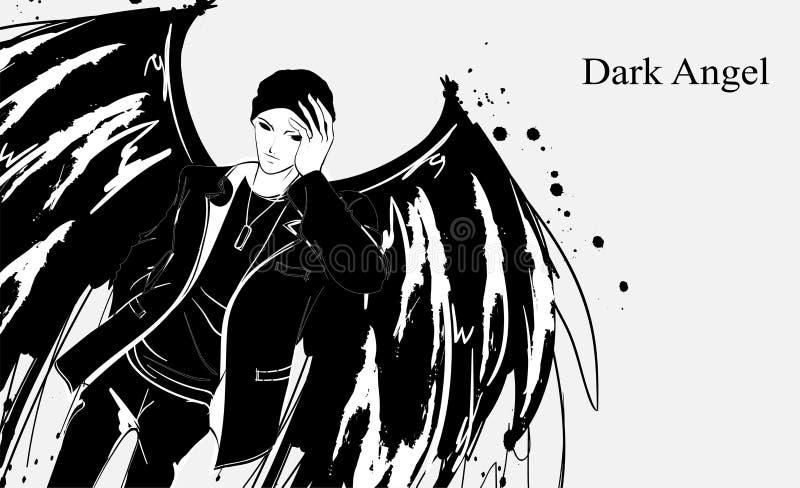 Angel man. Dark angel. Vector image of beauty fashion angel man. Fashion angel. Angel man. Dark angel. Vector image of beauty fashion angel man. Vector Fashion stock illustration