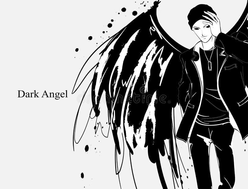 Angel man. Dark angel. Vector image of beauty fashion angel man. Fashion angel. Angel man. Dark angel. Vector image of beauty fashion angel man. Vector Fashion royalty free illustration