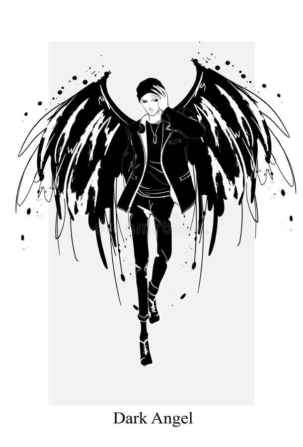 Angel man. Dark angel. Vector image of beauty fashion angel man. Fashion angel. Angel man. Dark angel. Vector illustration of beauty fashion angel man. Fashion stock illustration
