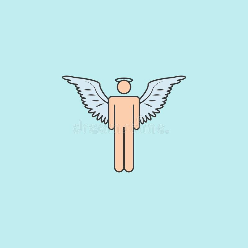 Angel man icon. Element of angel and demon icon for mobile concept and web apps. Filled outline angel man icon can be used for w. Eb and mobile on blue stock illustration