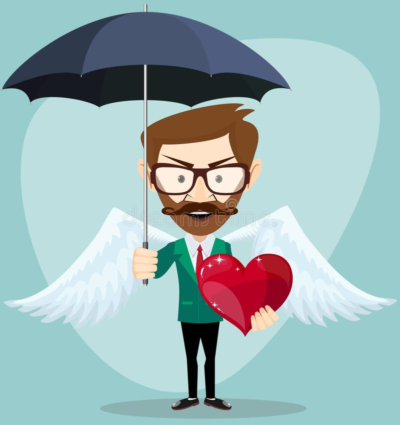 Angel Man with an umbrella, Wings and Heart, vector illustration. Young Handsome angel Man with an umbrella Wings and Heart - Young man, hipster, gives a gift stock illustration