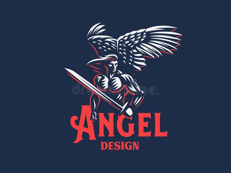 Angel man. Vector emblem. Angel man with Wings. Logo. Vector emblem royalty free illustration