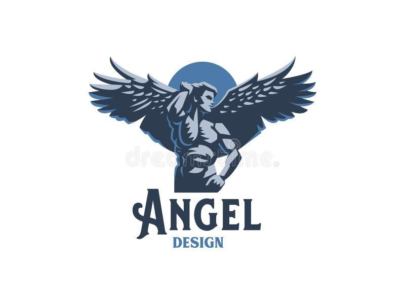 Angel man. Vector emblem. Angel man with Wings. Logo. Vector emblem vector illustration