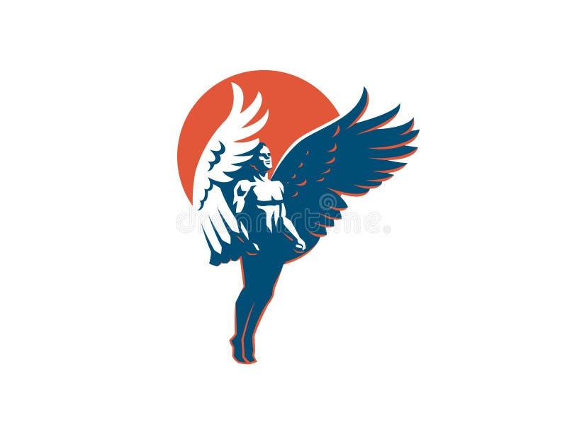 Angel man. Vector emblem. Angel man with Wings. Logo. Vector emblem stock illustration