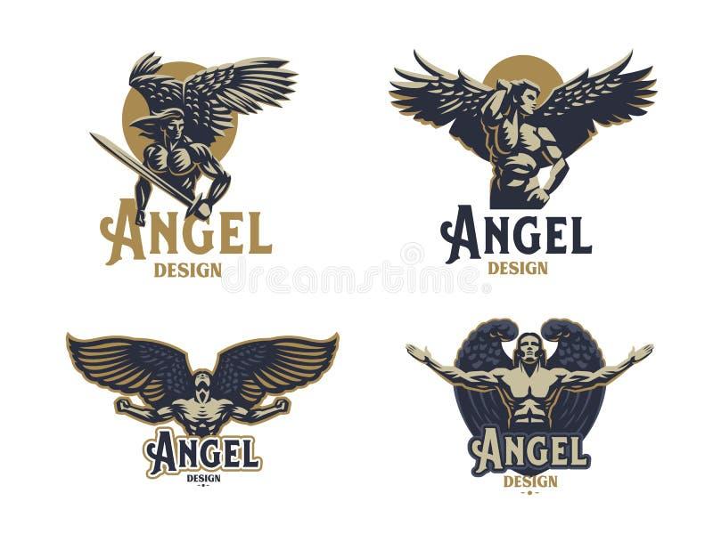 Angel man. Set of vector emblems. Angel man. Wings. Logo. Set of vector emblems stock illustration