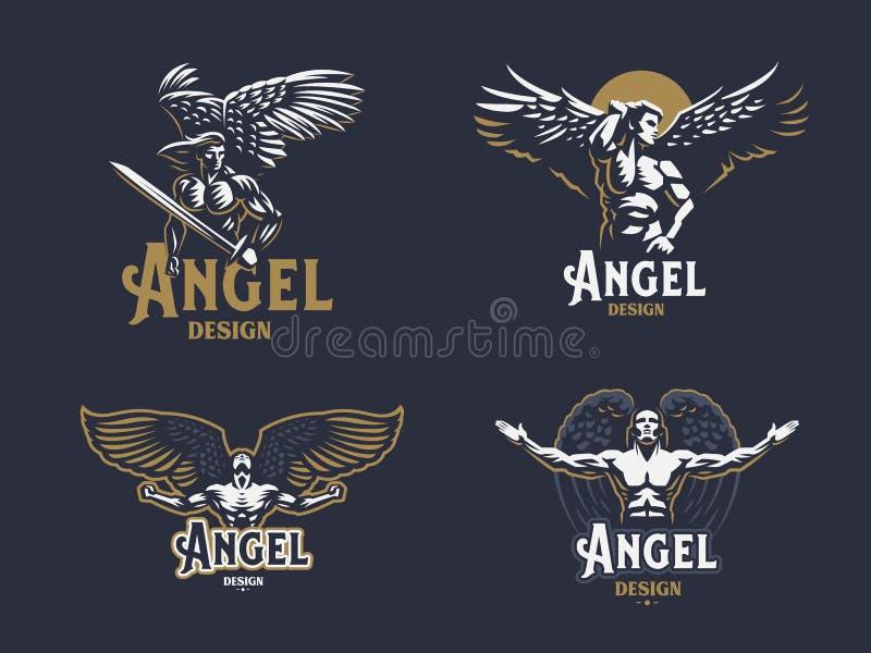 Angel man. Set of vector emblems. Angel man. Wings. Logo. Set of vector emblems vector illustration