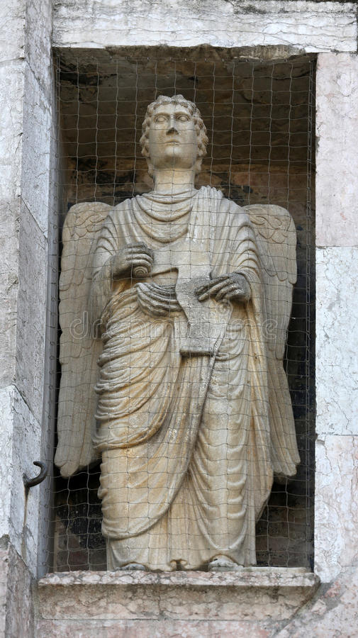 Angel. Marble statue on the Baptistery, Parma Emilia-Romagna Italy royalty free stock photos