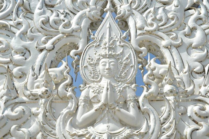 Angel meditation statue stock photo
