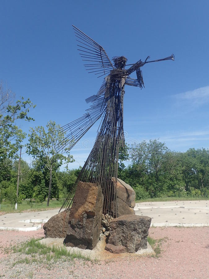 Angel Memorial to Villages, Chernobyl. Angel memorial to villages evacuated after the disastrous 1986 explosion at the nuclear reactor in Chernobyl, Ukraine stock photos