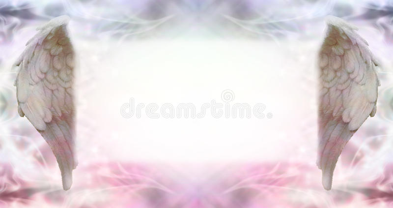 Angel Message Board. Wide ethereal energy background flanked by two Angel wings with a large misty white message board area