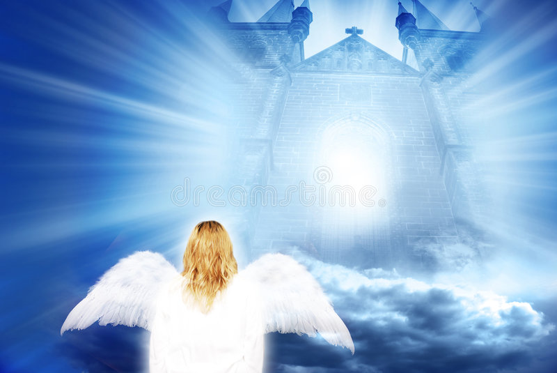 Angel with mystical gate. White angel near mystical gate with rays of light
